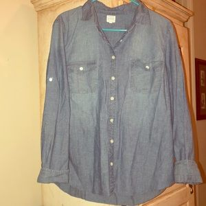J. Crew women's jean button up. Size Large.